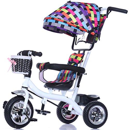 Vélo pour enfants Enfant à l'intérieur de l'extérieur Petit vélo Tricycle Bicyclette à vélo pour fille de 6 mois à 6 ans Bébé Trois roues Trolley Awning, Solid Plastic Wheel (Colorful, White) Chariot bébé