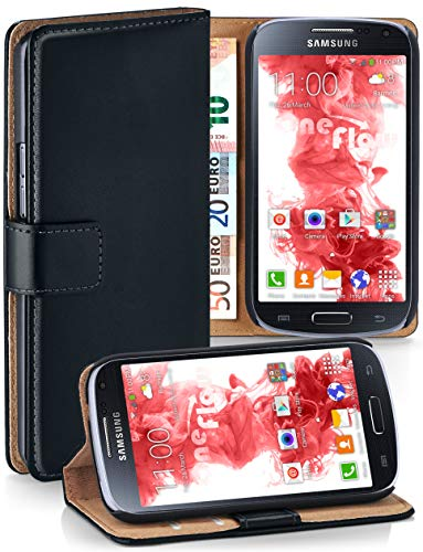 moex® Booklet mit Flip Funktion [360 Grad Voll-Schutz] für Samsung Galaxy S4 Mini | Geldfach und Kartenfach + Stand-Funktion und Magnet-Verschluss, Schwarz