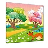 Kunstdruck - Kinderbild - Phantasiebäume - Bunter Wald - 40 x 40 cm - Bilder als Leinwanddruck - Wandbild von Bilderdepot24 - Kinder - Natur - kleiner Fuchs im Märchenwald