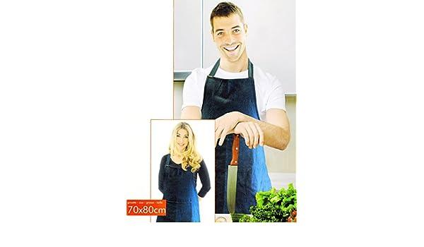 KAMACA K/üchen ** Sch/ürze zum Kochen und Backen und Grillen JEANS Backsch/ürze Grillsch/ürze und Kochsch/ürze hochwertig aus 100/% Baumwolle 1 x Sch/ürze JEANS 70 cm x 80 cm