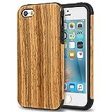 TENDLIN iPhone SE Hülle Holz und Flexiblem TPU Silikon Hybrid Weiche Schutzhülle für iPhone SE 5S 5 (Teakholz)