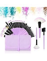 Daxstar 32 Pcs Pinceaux De Maquillage, Complet Soyeux Fibres Synthétiques Souples Maquillage Brush Set Pour Fond De Teint, Blush, Correcteurs Pour Les Yeux (Pourpre)