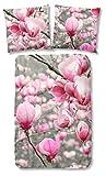 Good Morning! 5077-P, 135cm bettwäsche mit Magnolia Blumen, 100 Prozent Baumwolle, rosa/grau, 200 x 135 x 0,5 cm