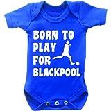 Born To Play Football pour Blackpool Combinaison Body bébé manches courtes pour femme Motif Grow en bleu royal et blanc Bleu bleu marine 0-3 mois