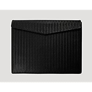 Ledertasche Macbook Air 13 Zoll Braid Paperbag in schwarz