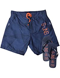 Smith and Jones Herren Relaxed Badeshort grau grau Small