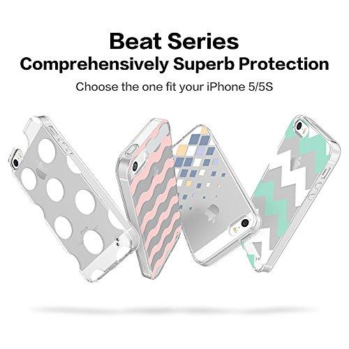 iPhone 5 / 5S Hülle, ESR® Beat Bildserie Weiche Silikon Rahmen mit Hart PC Zurück Schutzhülle für iPhone 5S/5 (Grün Winkel) Beat_Grüne Welle
