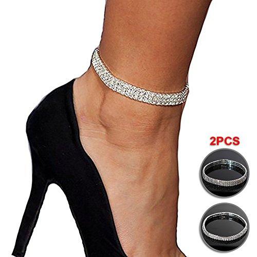 NewChiChi 2PCS Brillante Twinkle Diamond Tobillera elástica Bling Brillante pie joyería Pulsera Nupcial joyería de Verano Vestido de Tobillera