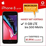 Apple iPhone 8 (space grau) 64GB Speicher Handy mit Vertrag (Vodafone Smart XL) 11GB Datenvolumen 24 Monate Mindestlaufzeit [Exklusiv bei Amazon]