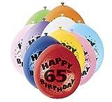 9'Latex surtidos Happy 65th Birthday Balloons, Paquete de 10