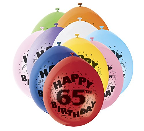 9'Latex surtidos Happy 65th Birthday Balloons, Paquete de 10