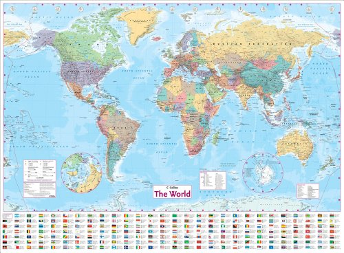 Collins World Wall Laminated Map (World Map) Test