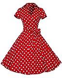 YiLianDa Mangas Corta Retro Audrey Hepburn Estilo V- Collar Delgado Swing Vestidos de Noche Rojo Dots L