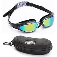Bezzee-Pro Gafas de Natación Experto - Lente de Color Gafas - Anti Niebla - Hermético - Ajustable - Visión De 180 Grados - Mejor para Hombres, Mujeres, Niños y Jóvenes de Mas de 10 Años