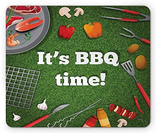 VAICR Mauspad BBQ Party Mouse Pad,Its BBQ Time Quote on Green Toned Background with Food and Grilling Utensils,Non-Slip Rubber Base,Laser Optical Mouse Compatible