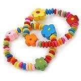 Flexibles Armband für Kinder und Jugendliche, bunte Holzperlen mit Blumen – 2-teiliges Set