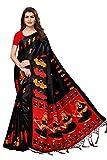 ANNI DESIGNERIndian Women's Kalamkari Silk Saree with Blouse Piece (SHABRI BLACK_Black_Free Size)