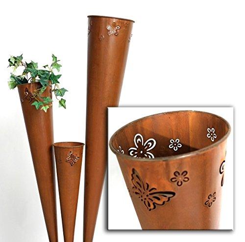 floristikvergleich.de 3-Set Pflanztüte Metall Rost Tüte Deko – 50/75/100cm