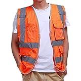 iiniim Unisex Reflektierende Sicherheitsweste Warnweste Verkehrswarnweste Baustellenweste mit Taschen M L XL XXL Orange XL