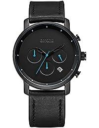 Reloj de pulsera analógico para hombre con cronógrafo de cuarzo, simple y casual, color negro, todos los pequeños…