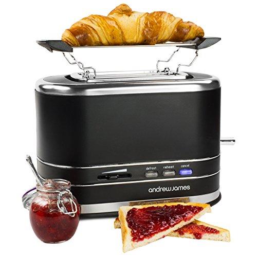 Andrew James Lumiglo – 2-Scheiben Toaster mit Brötchenaufsatz – Inklusive leuchtenden Funktionstasten und Temperaturregler (Schwarz)
