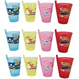 Sipper With Straw , Glass Sipper Assorted Colours , The All-in-One , Cartoon Printed Designer Glass Sippers With Straw , Best Gifts - Children Food Toy , Best For A Birthday Party BY BigMart (PACK OF 12)