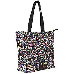 PERLETTI Bolsa de Hombro para Niñas con Emoji - Bolso con Cremallera - Emoticon Whatsapp Bolso de Hombro para Viaje y Shopping - Negro - 37x33x15 cm