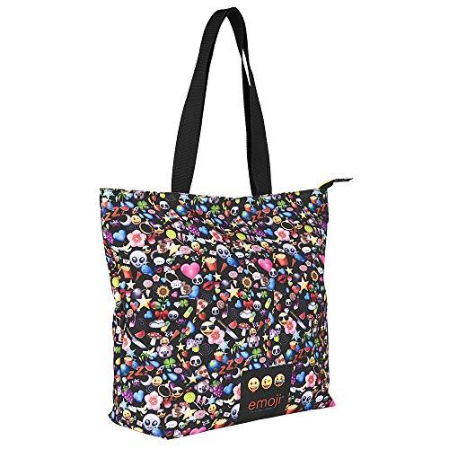Perletti Shoppertasche für Mädchen mit Emoji - Tote Tasche mit Reißverschluss - Whatsapp Emoticons Schultertasche für Reisen und Shopping - Schwarz - 37x33x15 cm
