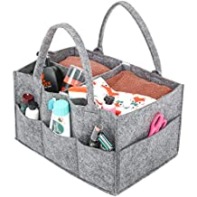 Umi. Essentials Baby Diaper Caddy Nursery Storage Bin Felt Basket Diapers Organizer Baby Wipes Bag with Changeable Compartments, Portable Multipurpose Basket for Car Travel, Nappy Bags for Mom, Grey