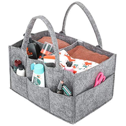 Baby Windel Caddy, Umi. tragbar Wickeltasche Organizer Multifunktionale Wickeltasche Aufbewahrungsbox Caddy mit Wechselbaren Fächer für Kinderzimmer, Auto und Reisen-Grau