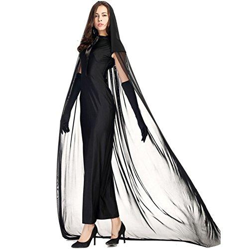 Kostüme Halloween-Geist-Hexe-Set für Frau Adult Party / Dame-Abendkleid Größe M Schwarz -Juleya
