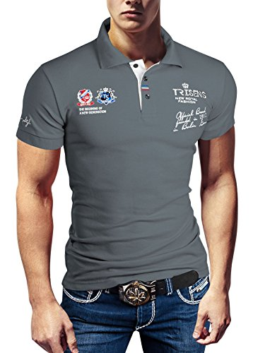 POLO NEW POLOSHIRT T-SHIRT SHIRT HEMD PARTY SLIM HERREN KURZARM PIQUE WOW, Farbe:Grau;Größe:M (Hoody Polo)