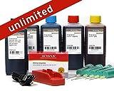 Komplettset mit Chipresetter für Canon PGI-570, CLI-571 Patronen mit 5 x 100 ml Druckertinte für Pixma MG 5700, MG 6800 und TS 5000, TS6000 Drucker, Tintenset: 500 ml Nachfülltinte, unbegrenzte resets (non OEM)