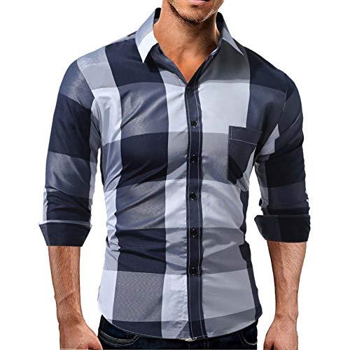 LIXIAOLAN Herrenhemden, Karo Langarm-Shirt Slim Fit Nicht-Eisen-Arbeits-Business Casual Button-Down-Hemd-Plaid-Kleid Bluse Top,B,XXL -