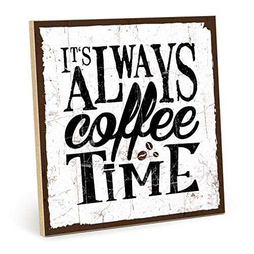 TypeStoff Holzschild mit Spruch - Coffee TIME - im Vintage-Look mit Zitat als Geschenk und Dekoration zum Thema Kaffee und Pause (19,5 x 28,2 cm)