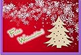 metalum Premium-Weihnachtskarte mit festlichem Motiv in tollen Farben und kleinem Weihnachtsbaum aus echtem Holz - eine ausgefallene Weihnachtskarte!
