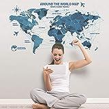 YANCONG PVC Ciencia y Tecnología Mapa del Mundo Decoraciones de Pared Sala de Estar Etiqueta de la habitación Dormitorio Arte de la Pared Habitación Muebles Etiqueta de la Pared