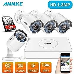 Kit de sistema de seguridad inalámbrico NVR de 8 canales y 4 cámaras de vigilancia(Onvif H.264 CCTV NVR P2P 8CH 960P y 4 Cámaras 960P 1.3MP IP67 Impermeable IR-Cut 1TB Disco Duro)