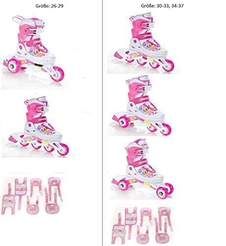 2in1/3in1 Inlineskates Inliner Triskates Rollschuhe Croxer Happy Pink + Schützer