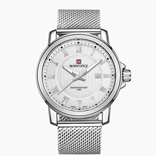 PIXNOR NAVIFORCE Men Watch sport impermeabile al quarzo orologio da polso con cinghia di Milano dell'acciaio inossidabile della maglia (bianco argento)