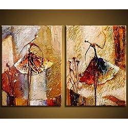 Wieco Art-Pinturas al óleo sobre lienzo para colgar, 2 unidades, 100 % pintadas a mano, diseño abstracto de bailarinas