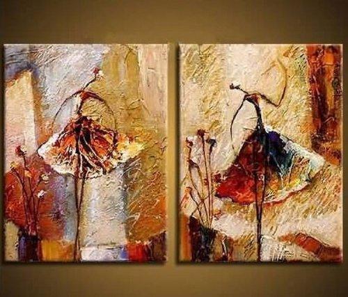 Wieco Art Ölgemälde auf Leinwand, 2 Balletttänzerinnen, Kunstwerk, Moderne Deko, 100% handbemalt, Zeitgenössische Kunst, abstraktes Wandbild, fertig zum Aufhängen