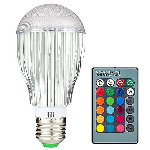 Skybaba Lumière Ampoule E27 10W RGB LED 16 Couleurs Changeantes Dimmable Multicolore LED avec Télécommande IR 360 ° Angle de faisceau Lampe Bulbe LED 85-265V pour Décoration / Bar / Party / KTV Mood Lighting
