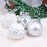 STOBOK inverno argento bianco glitter palle di natale appeso albero di natale palla dipinta scintillante infrangibile palla di natale puntelli decorativi regali / 24pcs-6cm