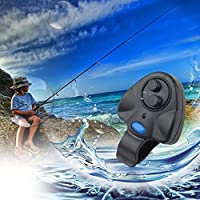 Ballylelly-Mini Universal Elektronische Fisch Biss Ton Alarm LED Licht Alarm Bell Angelrute Clip-On ABS Fisch Bissanzeiger Schwarz