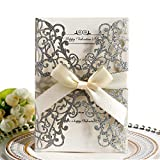 Invito a nozze,Hollow Floral Design invita Pocket Card con nastro per docce nuziali,Feste di fidanzamento, include 10 copertine,10x Blank Card interna,10x Ribbon (Glitter argento)