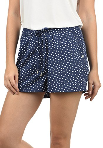 Blend She Amal Damen Chino Shorts Bermuda Kurze Hose mit Print und Kordel Loose Fit, Größe:L, Farbe:Peacoat Dot (14021) (Print-stretch-shorts)