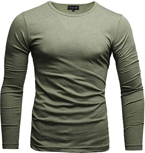 Slim Fit Herren-pullover (Crone Essential Basic Herren Slim Fit Langarm Rundhals Shirt Longsleeve T-Shirt Sweatshirt in vielen Farben (XL, Mint))