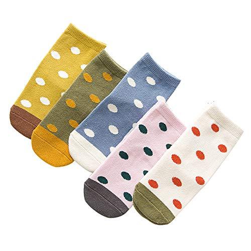 Monbedos 5 Paar süße Bambus-Socken für Mädchen und Kinder, Herz-Punkte, solide Socken, schöne Baumwoll-Socken für Mädchen, 1 -