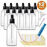 12x100ml Pipettenflasche Tropfflasche aus Transparenteglas Set - Apothekerflaschen Inklusive 16 Hilfszubehör